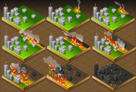 calamity: Detailed illustration of a Isometric Fire Disaster Classifications Scale
