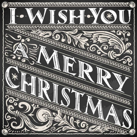 Detailed illustration of a Vintage Merry Christmas and Happy New Year Text on a Blackboard  Vector