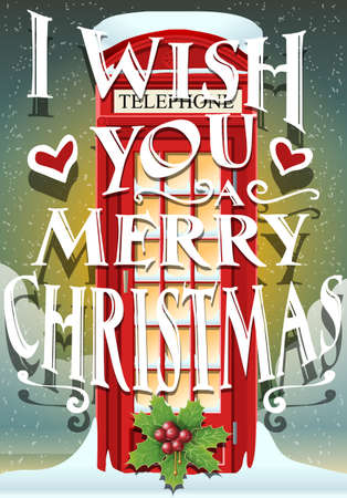 Detailed Illustration of a Christmas Greeting Card with English Red Telephone Cabin Vector