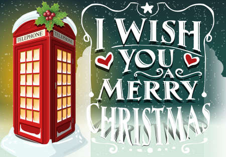 telephone box: Detailed Illustration of a Christmas Greeting Card with English Red Telephone Cabin Illustration