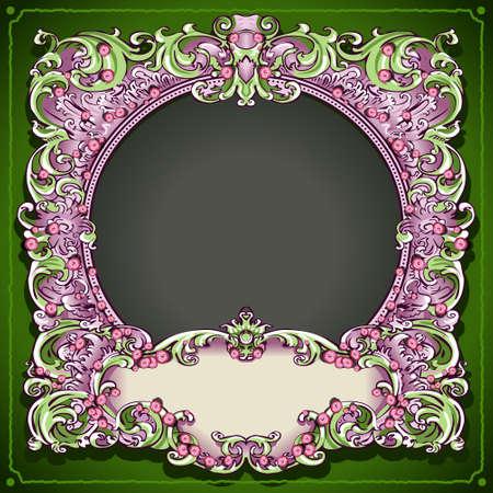 old frames: Detailed illustration of a Vintage Floral Spring Frame with roses