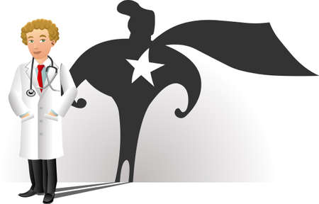 슈퍼 영웅 실루엣 웃는 의사의 자세한 그림