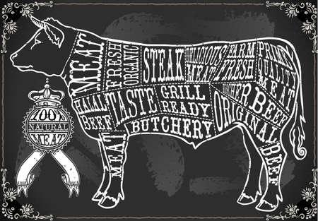 RGB の色空間とビンテージ黒板カットの牛肉書道 TextIllustration と EPS10 での詳細なイラスト