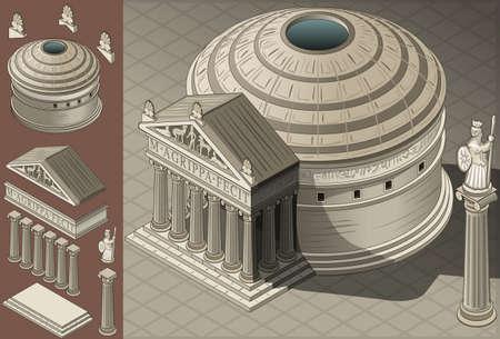 ローマ建築様式の等尺性パンテオン神殿の詳細なイラスト