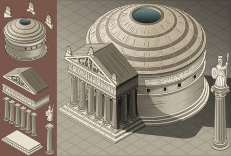 Detailed illustration of a Isometric Pantheon Temple in Roman Architecture style