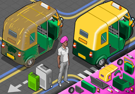 Detailed illustration of a Isometric Indian Rickshaw in Rear ViewIllustration in EPS10 with color space in RGB  Vector