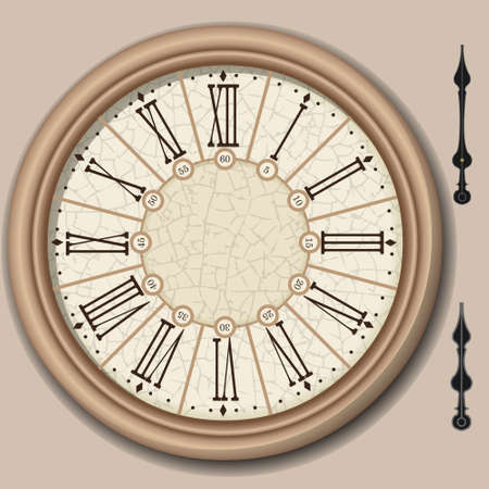 reloj antiguo: Ilustración detallada de un cuadrante de reloj victoriano con lancetas