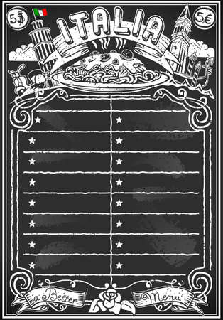 Detailed illustration of a Vintage Blackboard for Italian Menu for Bar or Restaurant Vector Illustration
