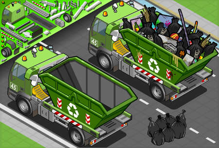 garbage bag: Detailed illustration of a Isometric Garbage Truck with Container in Rear View