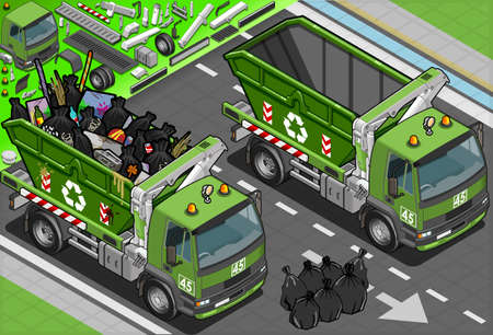 garbage bin: Detailed illustration of a Isometric Garbage Truck with Container in Front View Illustration