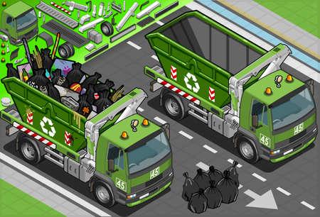 servicios publicos: Ilustración detallada de un camión de basura isométrica con contenedores en Vista frontal Vectores