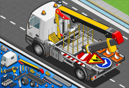 Detailed illustration of a Isometric Platform Lift Truck in Rear View Vector