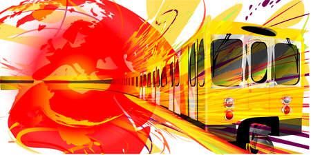 hosszú expozíció: Részletes illusztráció egy sárga Metró Háttér Illusztráció