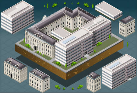 Detailed illustration of a Isometric European historic building  Vector