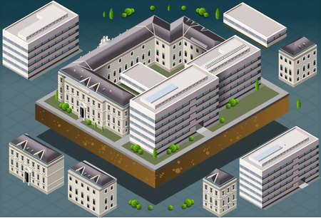 royal park: Detailed illustration of a Isometric European historic building  Illustration