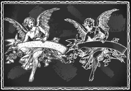 guardian angel: Detailed illustration of a Angel with Holding a Banner on Vintage BlackBoard