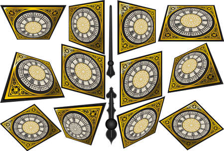 quadrant: Detailed illustration of a Set of Victorian Clocks with Lancets