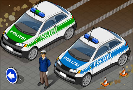 Detailed illustration of a Isometric German Police Car and Standing Policeman Illustration