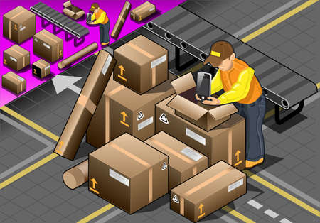 packer: Detailed illustration of a Isometric Packer at Work with Boxes