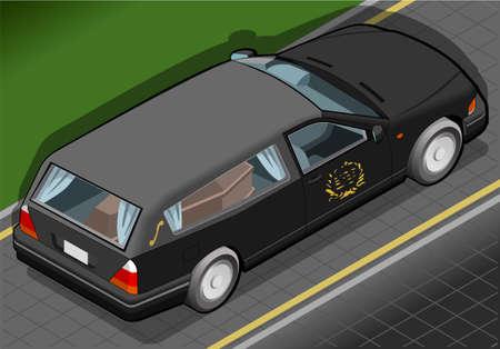 背面ビューで等尺性の霊柩車の詳細なイラスト