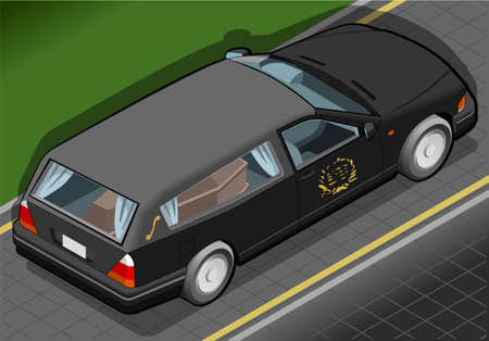 Detailed illustration of a Isometric Hearse in Rear View Illustration