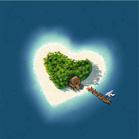 Szczegółowa ilustracja Heart Shaped Tropical Island na romantyczne wakacje lub walentynki