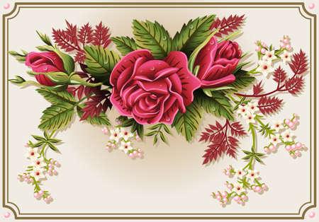 ビンテージ フレームにバラ飾りの詳細なイラスト