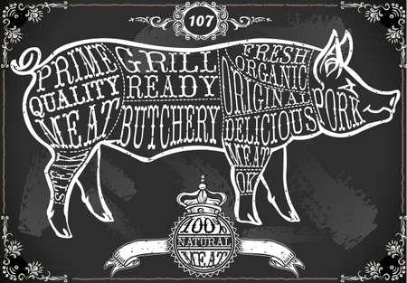 Gedetailleerde illustratie van een Vintage Blackboard Cut van varkensvlees