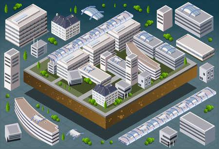 isometrico: Ilustración detallada de un edificio europeo isométrico Vectores