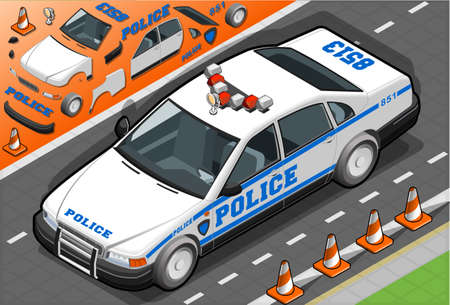 speed of sound: Detailed illustration of a Isometric Police Car in Front View