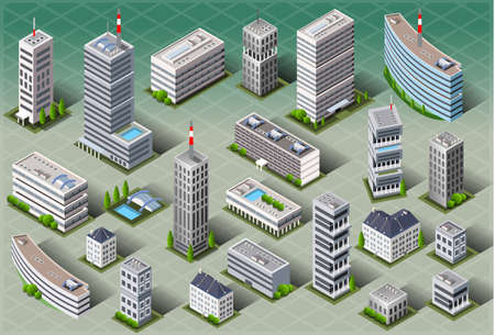 Detailed illustration of a Isometric European Buildings Çizim