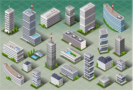 épület: Részletes ábra egy izometrikus európai épületek Illusztráció