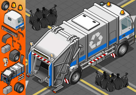 Detailed illustration of a Isometric White Garbage Truck in Rear View Vector