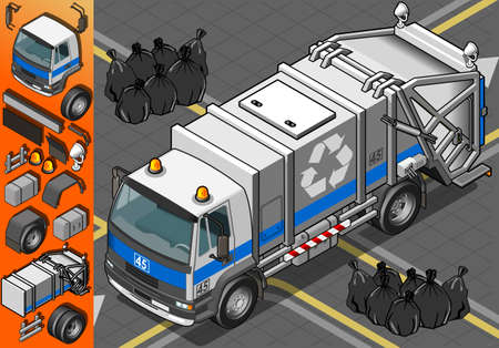 Detailed illustration of a Isometric White Garbage Truck in Front View Vector