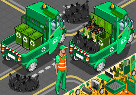 Detailed illustration of a Isometric Garbage Rickshaw in Rear View Vector