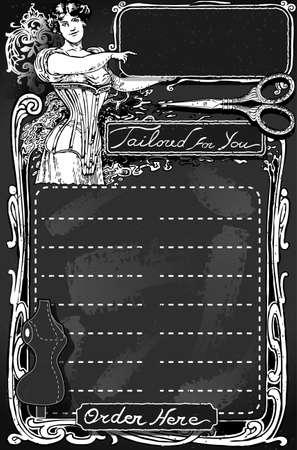 Detailed illustration of a Vintage Blackboard for Tailor shop Stock Vector - 24966190