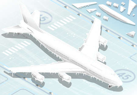 Detailed illustration of a Isometric Frozen Airplane in  Front View Vector