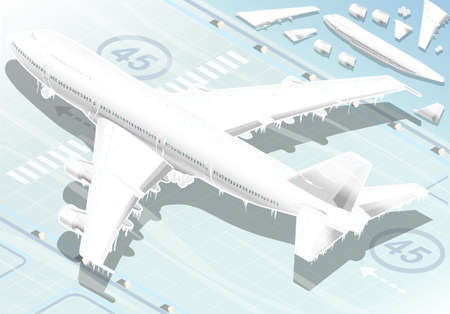 Detailed illustration of a Isometric Frozen Airplane in  Rear View Vector