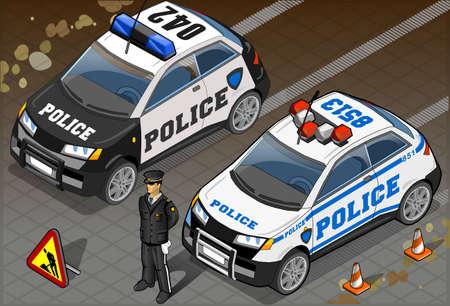 Gedetailleerde illustratie van een twee Isometrische Politiewagen in vooraanzicht