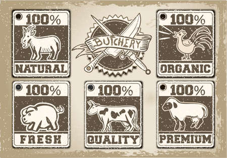 Detailed illustration of a Vintage Labels Page for Butcher Shop Vector
