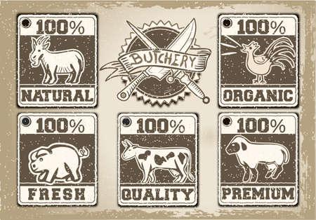 butcher s shop: Detailed illustration of a Vintage Labels Page for Butcher Shop Illustration