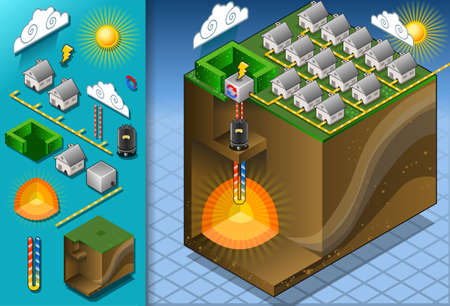 hot water geothermal: detailed illustration of a Isometric Geothermal Heat Pump Diagram with magma