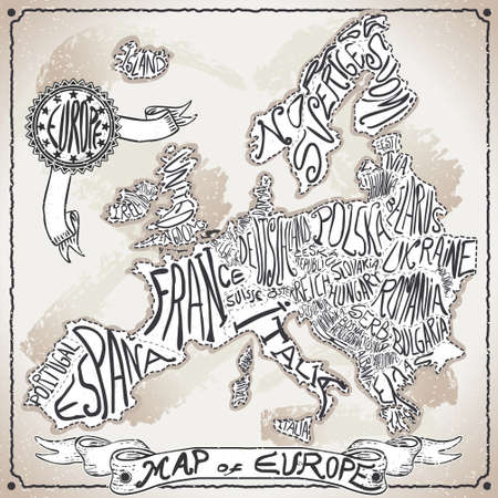 Detailed illustration of a Europe Map on Vintage Handwriting Page Illustration