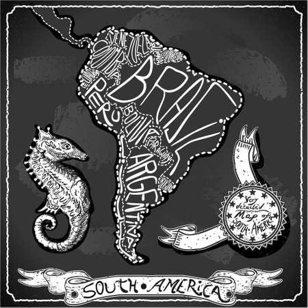 mapa del peru: Ilustraci�n detallada de un Mapa Am�rica del Sur en la vendimia de escritura Pizarra