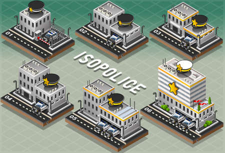 Detailed illustration of a Set of Isometric Police Stations Vector