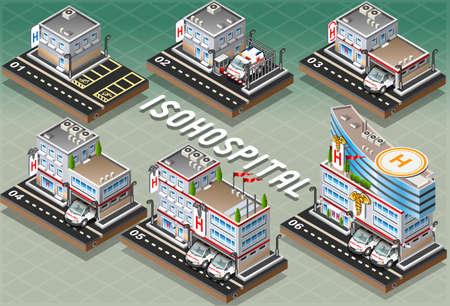 Gedetailleerde illustratie van een set van isometrische Ziekenhuizen