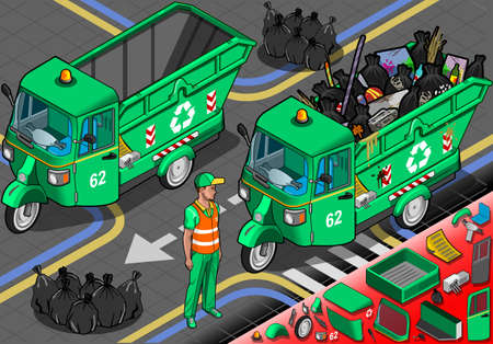 bag of soil: Detailed illustration of a Isometric Garbage Rickshaw in Front View
