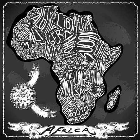 kenya: Detailed illustration of a Africa Map on Vintage Handwriting BlackBoard Illustration