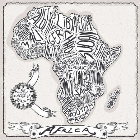 africa antique: Detailed illustration of a Africa Map on Vintage Handwriting Page