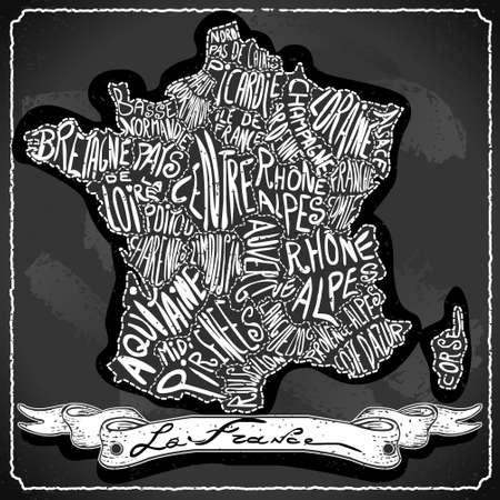 bretagne: Detailed illustration of a France Map on Vintage Handwriting BlackBoard